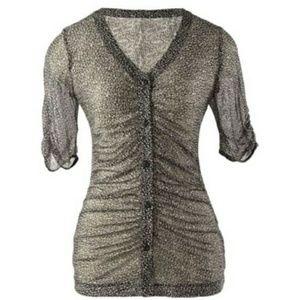 CAbi Sheer Blouse Shirt Top M Pebbled spots 241